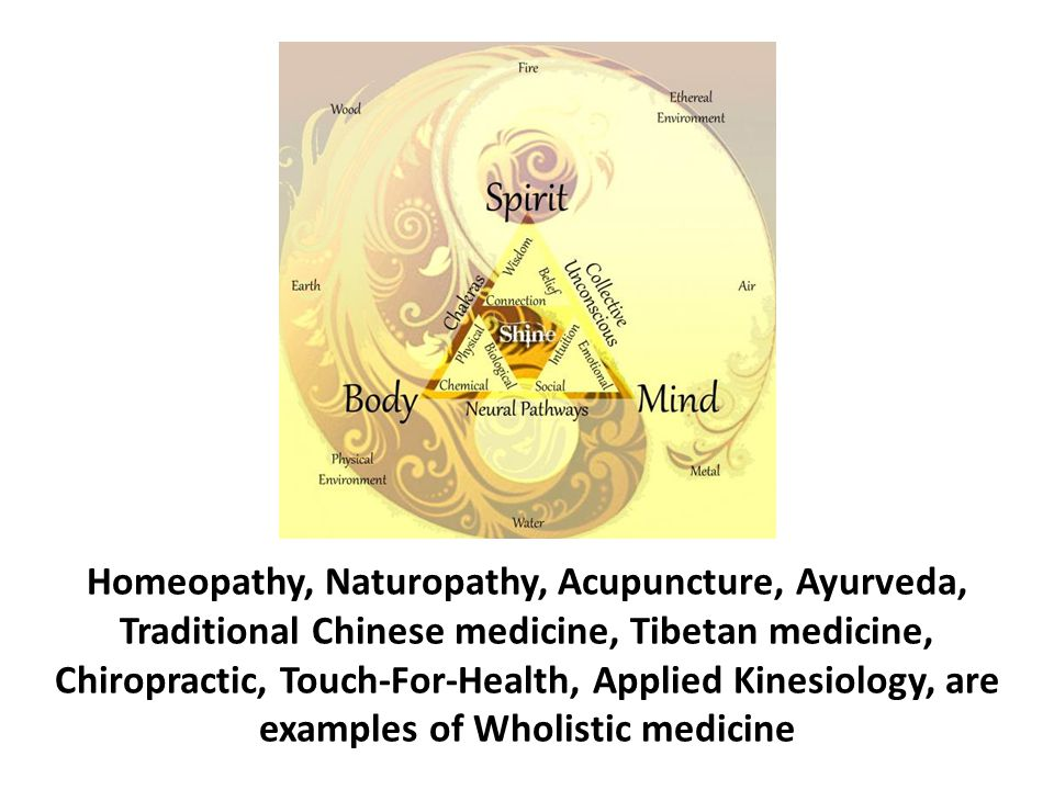 Homeopathy, Naturopathy, Acupuncture, Ayurveda, Traditional Chinese medicine, Tibetan medicine, Chiropractic, Touch-For-Health, Applied Kinesiology, are examples of Wholistic medicine