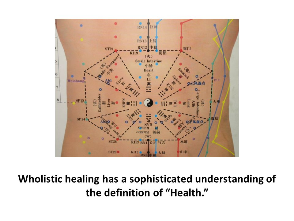 Wholistic healing has a sophisticated understanding of the definition of Health.