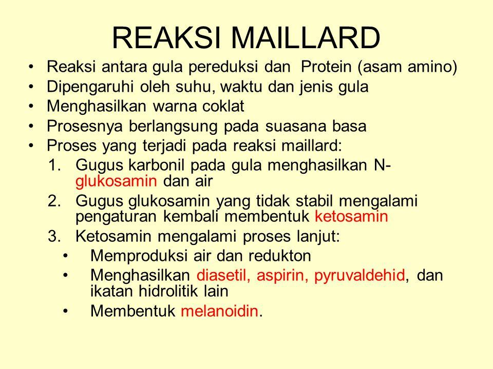 REAKSI MAILLARD Reaksi antara gula pereduksi dan Protein (asam amino)