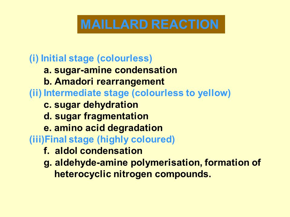MAILLARD REACTION (i) Initial stage (colourless)