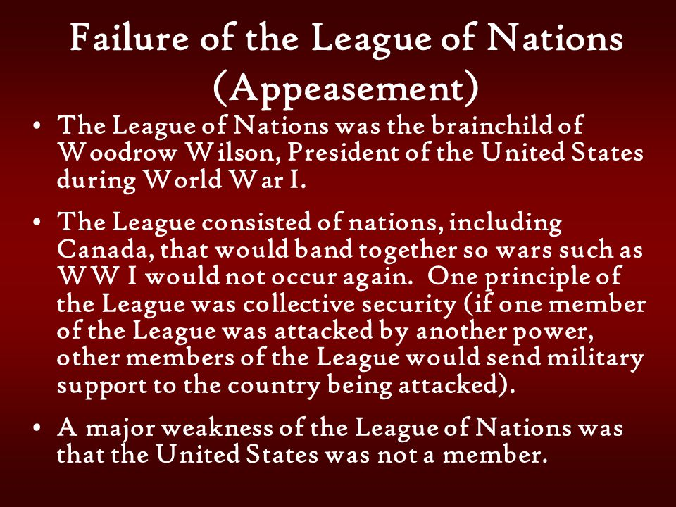 Failure of the League of Nations (Appeasement)