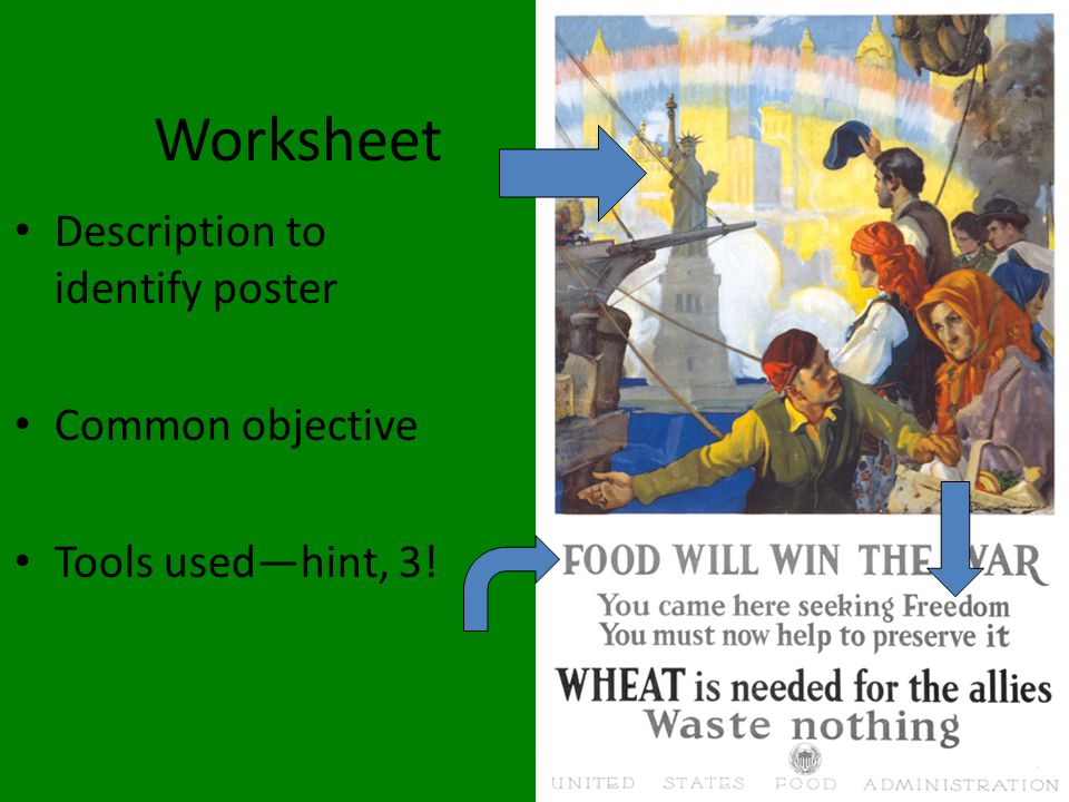 Worksheet Description to identify poster Common objective