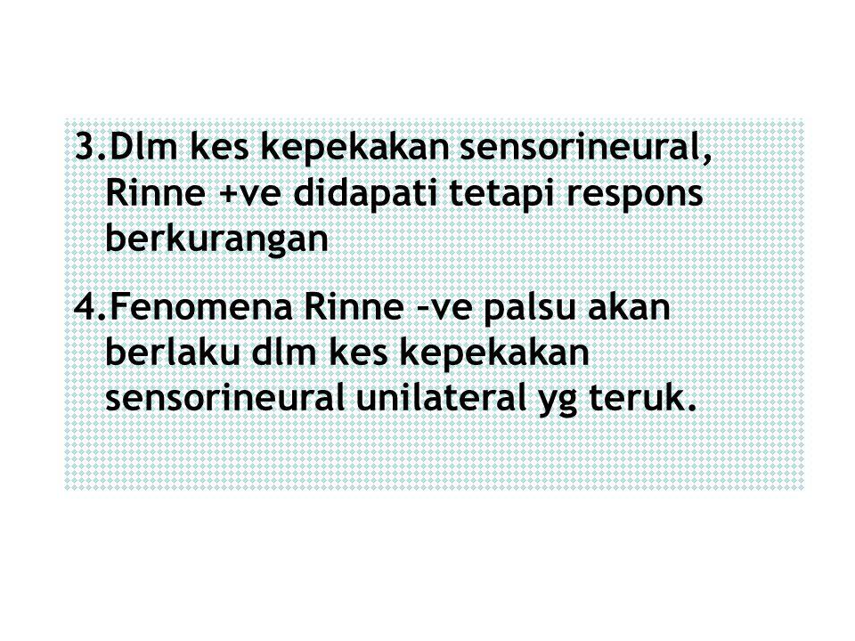 Dlm kes kepekakan sensorineural, Rinne +ve didapati tetapi respons berkurangan