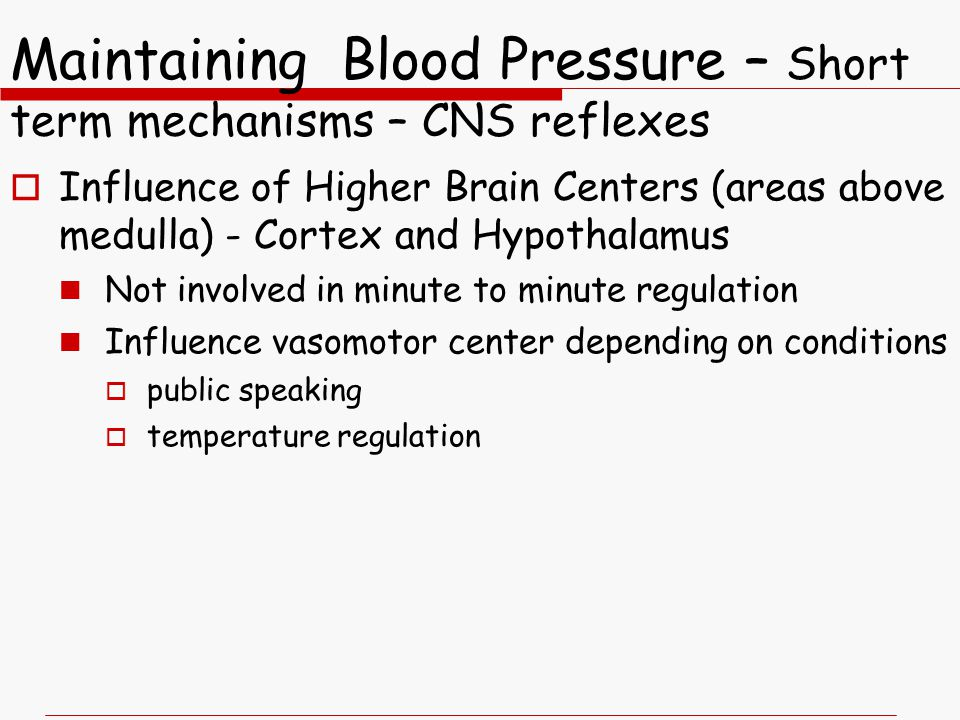 Maintaining Blood Pressure – Short term mechanisms – CNS reflexes
