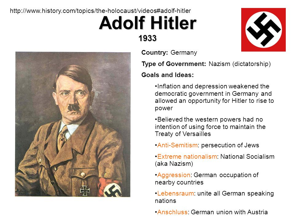 http://www.history.com/topics/the-holocaust/videos#adolf-hitler Adolf Hitler 1933. Country: Germany.