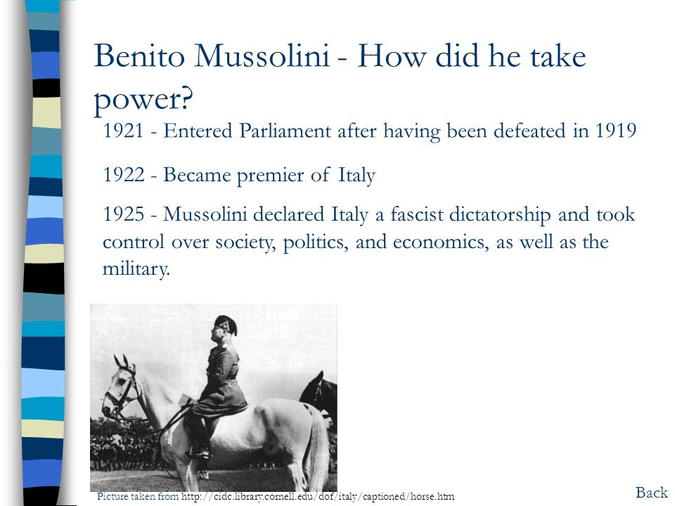 Benito Mussolini - How did he take power