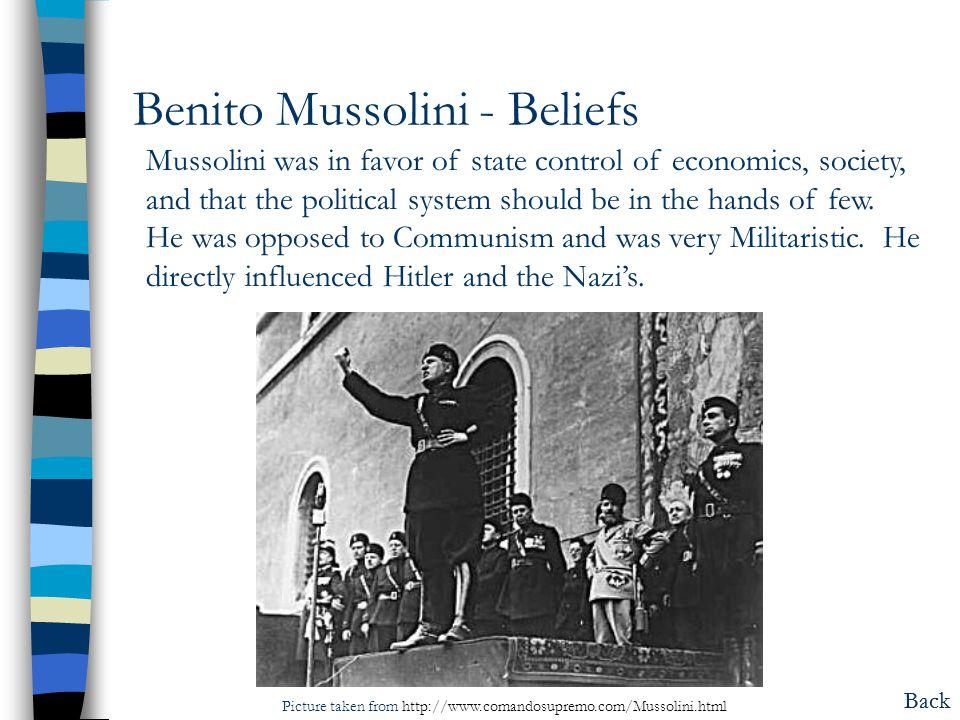 Benito Mussolini - Beliefs