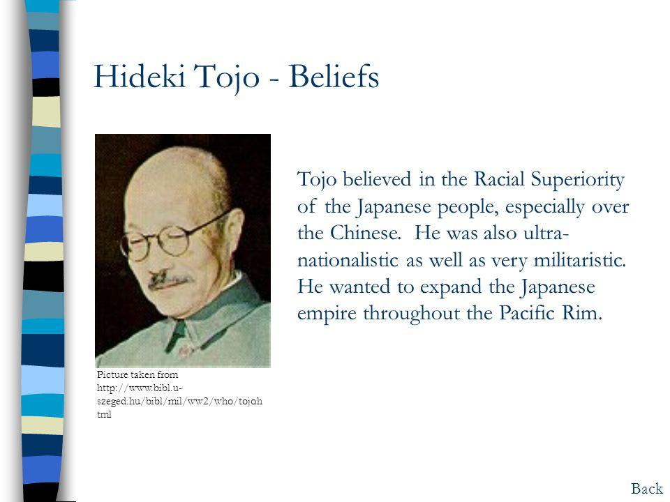 Hideki Tojo - Beliefs