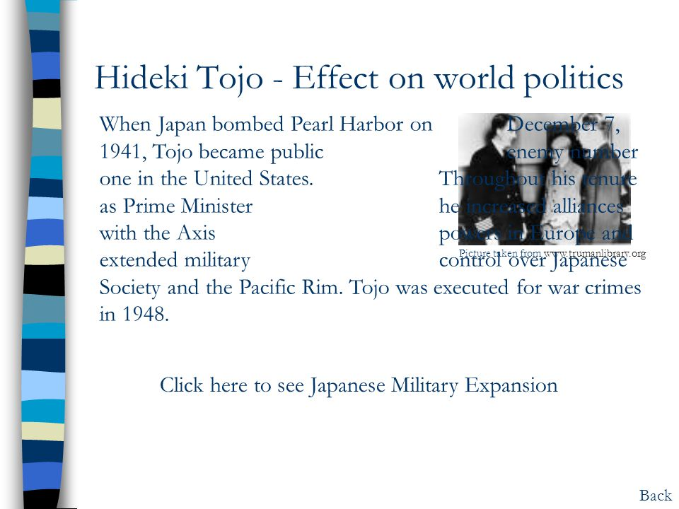Hideki Tojo - Effect on world politics