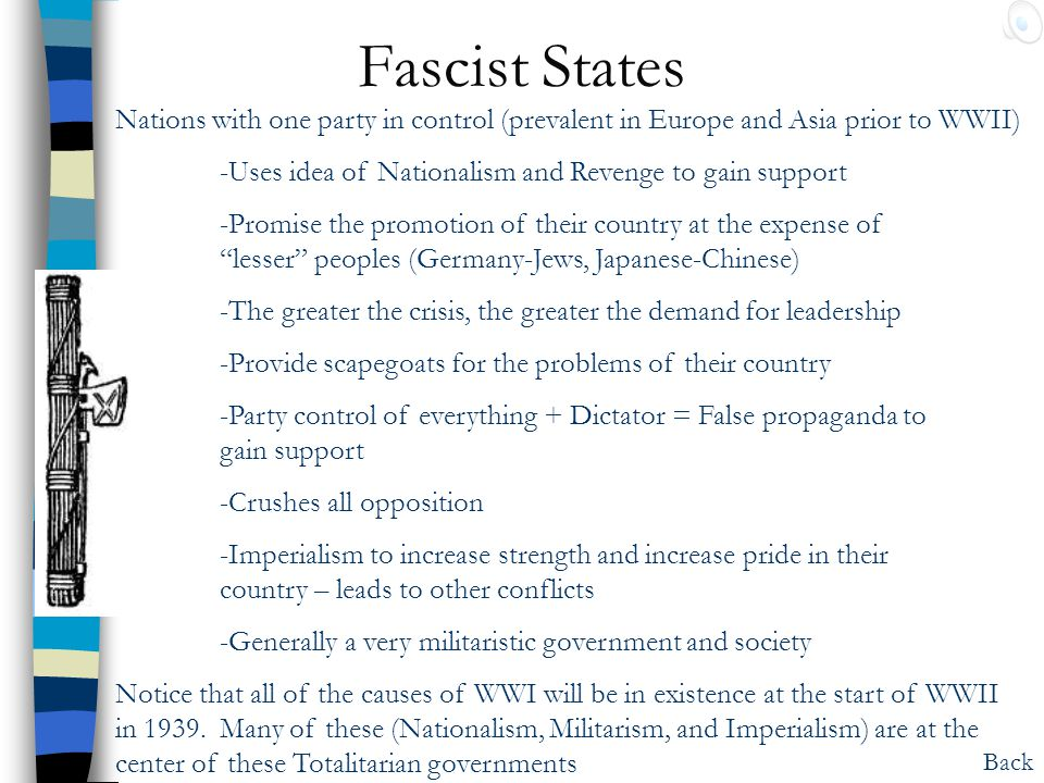 Fascist States Nations with one party in control (prevalent in Europe and Asia prior to WWII) -Uses idea of Nationalism and Revenge to gain support.
