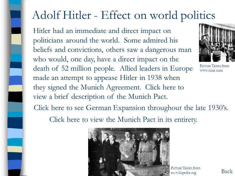 Adolf Hitler - Effect on world politics