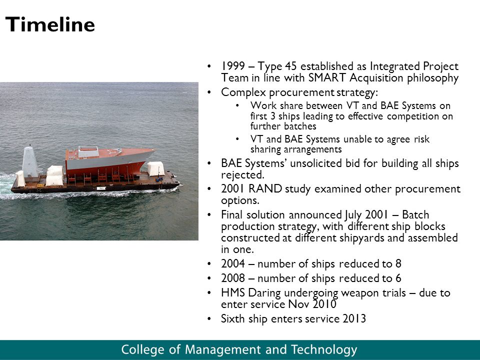 Timeline 1999 – Type 45 established as Integrated Project Team in line with SMART Acquisition philosophy.
