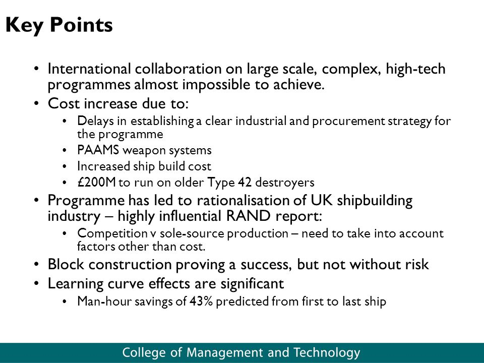 Key Points International collaboration on large scale, complex, high-tech programmes almost impossible to achieve.