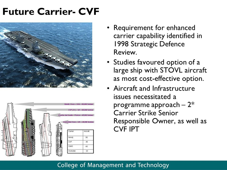 Future Carrier- CVF Requirement for enhanced carrier capability identified in 1998 Strategic Defence Review.