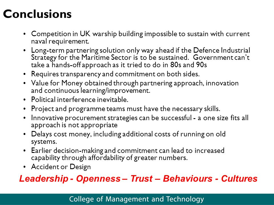 Leadership - Openness – Trust – Behaviours - Cultures