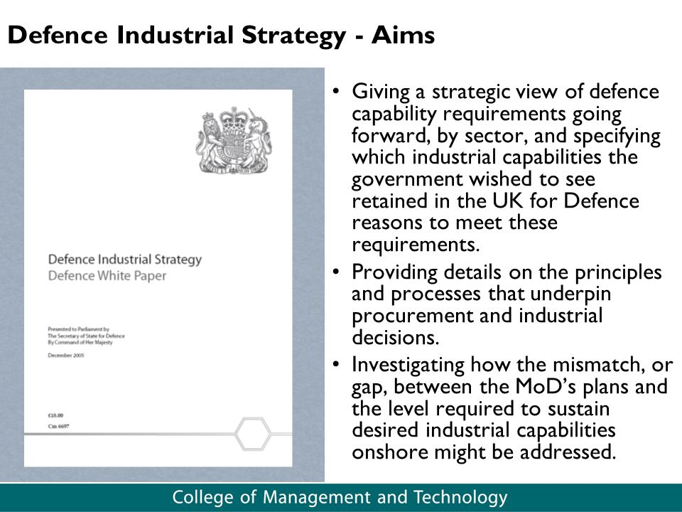 Defence Industrial Strategy - Aims