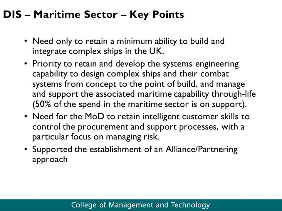 DIS – Maritime Sector – Key Points