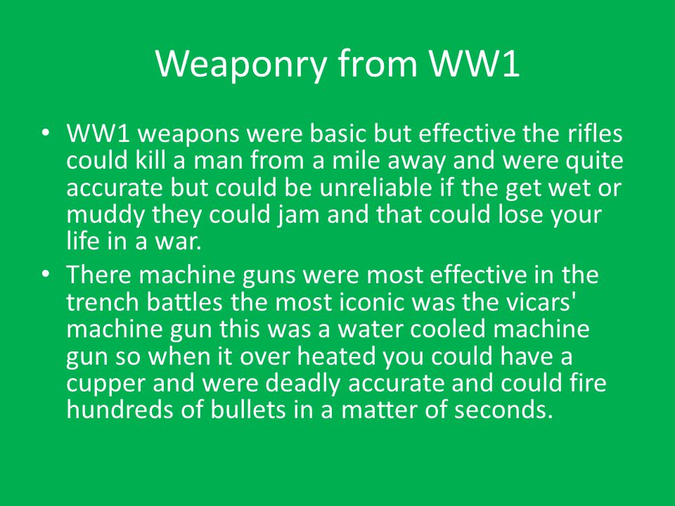 Weaponry from WW1