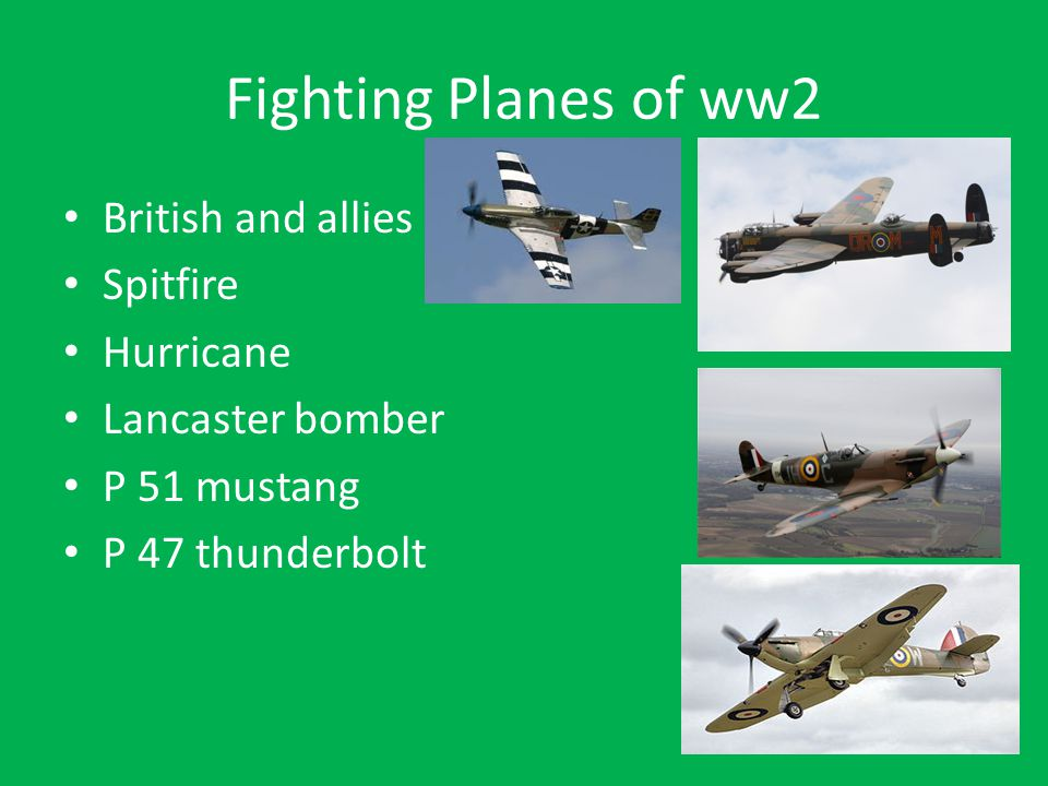 Fighting Planes of ww2 British and allies Spitfire Hurricane