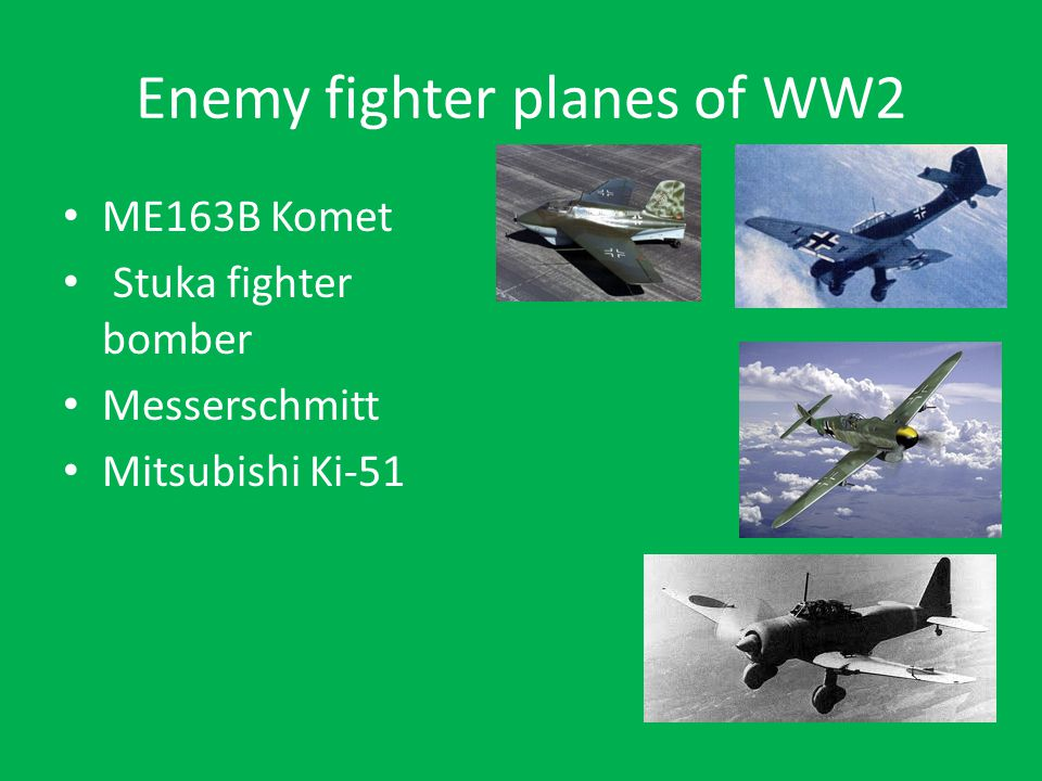 Enemy fighter planes of WW2