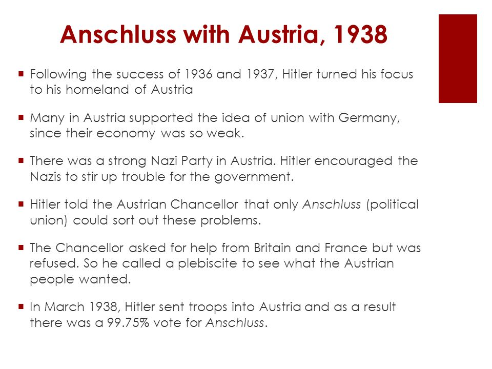 Anschluss with Austria, 1938