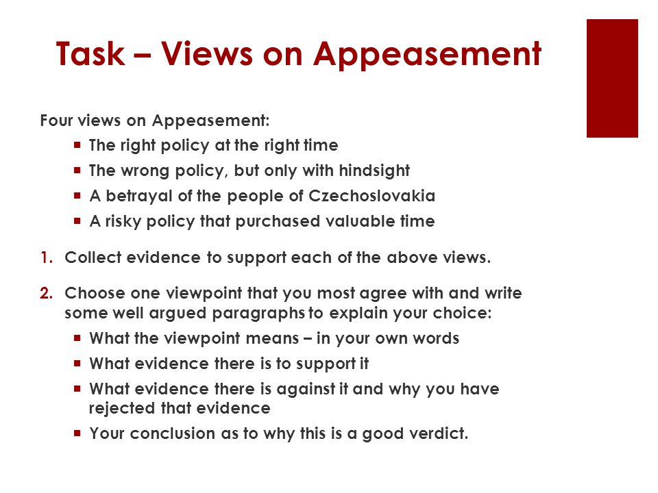 Task – Views on Appeasement