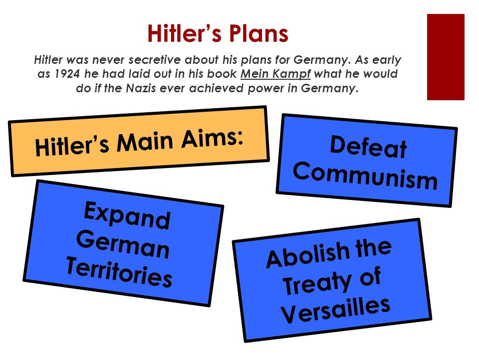 Expand German Territories Abolish the Treaty of Versailles