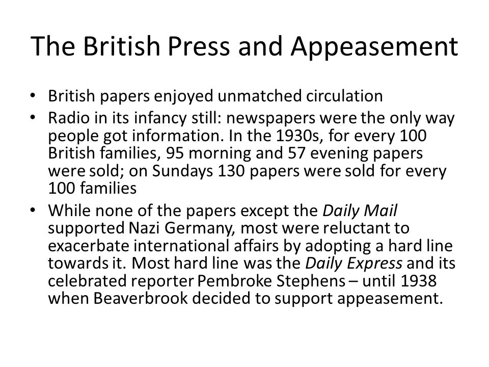 The British Press and Appeasement