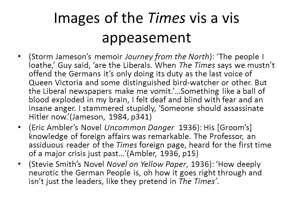 Images of the Times vis a vis appeasement