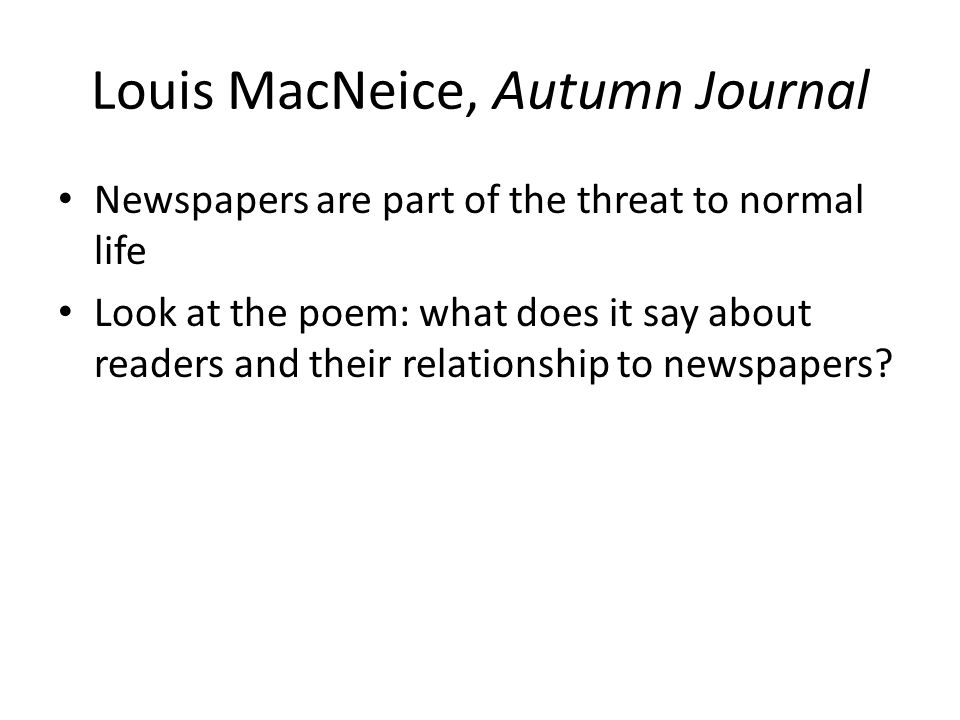 Louis MacNeice, Autumn Journal