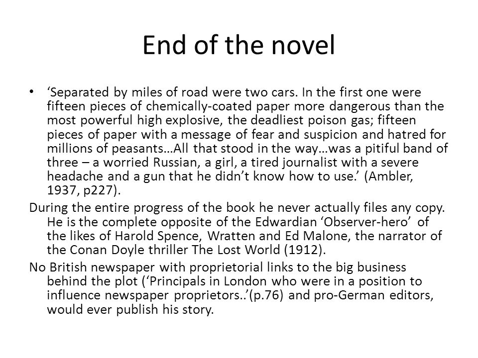 End of the novel