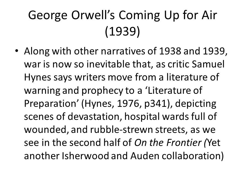 George Orwell's Coming Up for Air (1939)