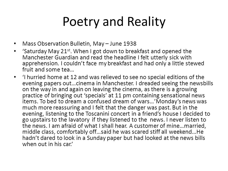 Poetry and Reality Mass Observation Bulletin, May – June 1938