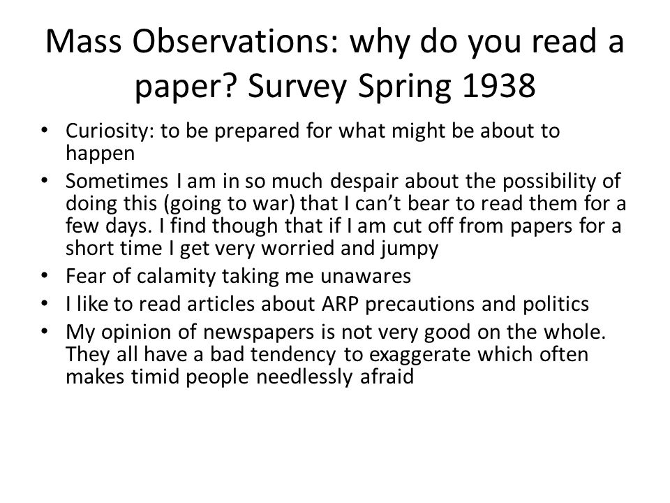 Mass Observations: why do you read a paper Survey Spring 1938
