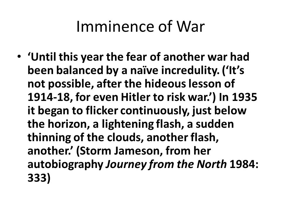 Imminence of War
