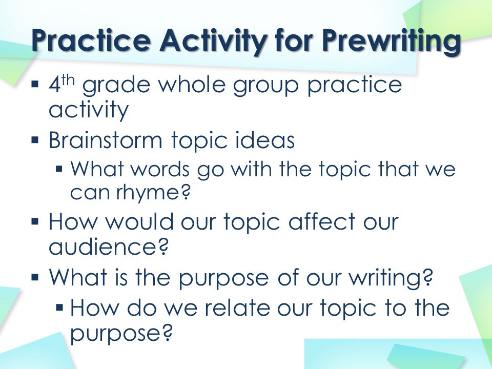 Practice Activity for Prewriting