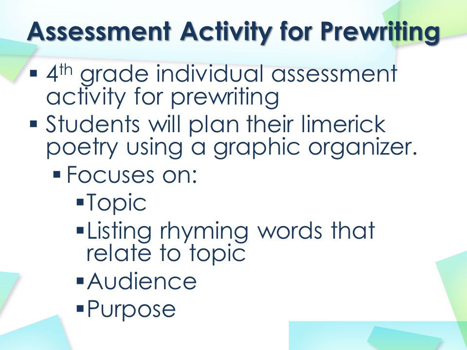 Assessment Activity for Prewriting