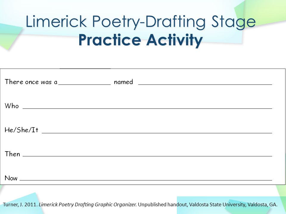 Limerick Poetry-Drafting Stage Practice Activity
