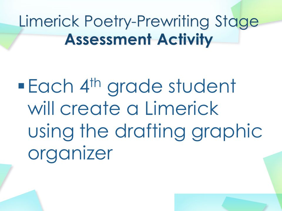 Limerick Poetry-Prewriting Stage Assessment Activity