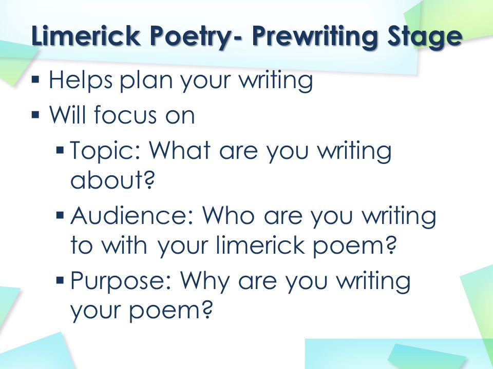 Limerick Poetry- Prewriting Stage