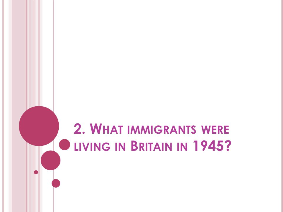 2. What immigrants were living in Britain in 1945