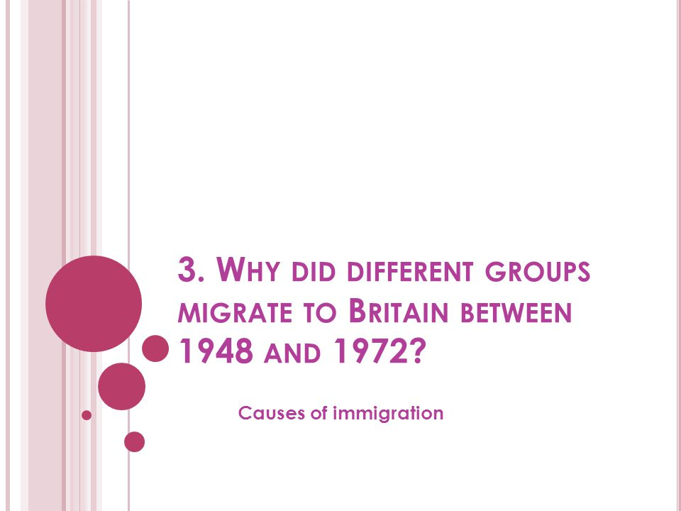 3. Why did different groups migrate to Britain between 1948 and 1972