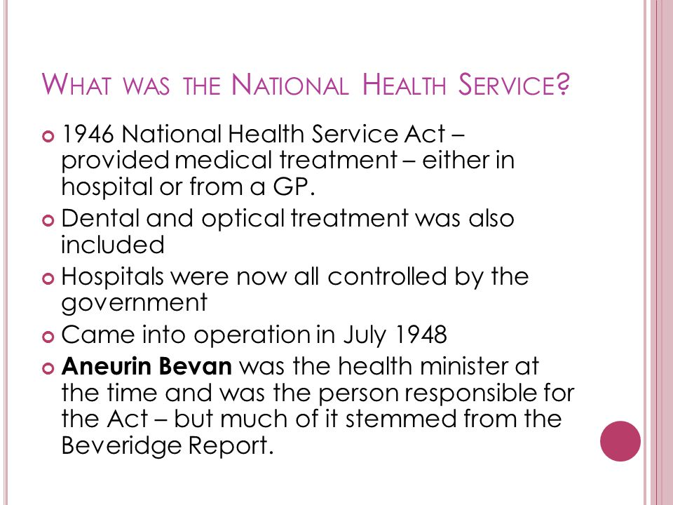 What was the National Health Service