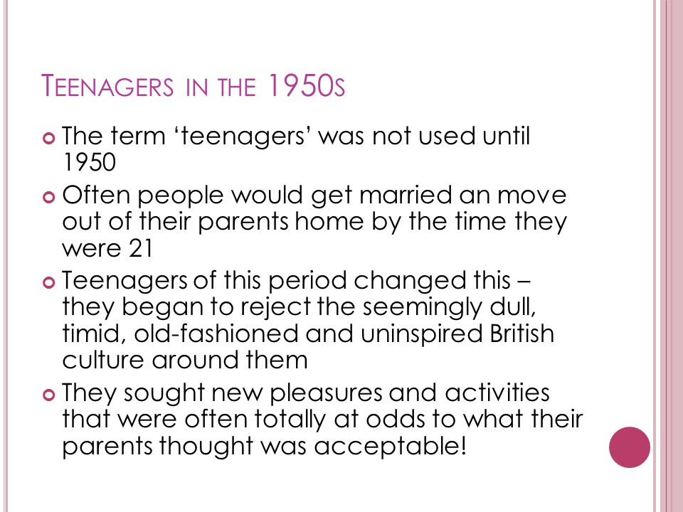 Teenagers in the 1950s The term 'teenagers' was not used until 1950