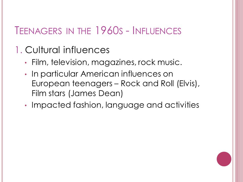 Teenagers in the 1960s - Influences