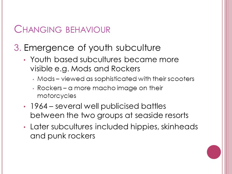 Changing behaviour 3. Emergence of youth subculture