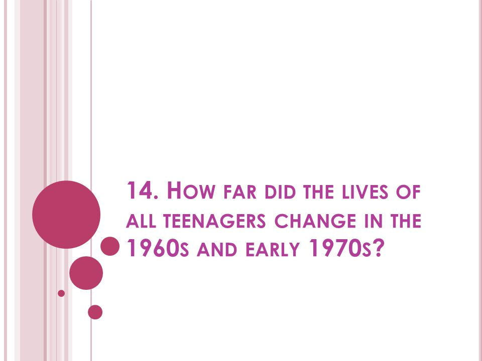 14. How far did the lives of all teenagers change in the 1960s and early 1970s