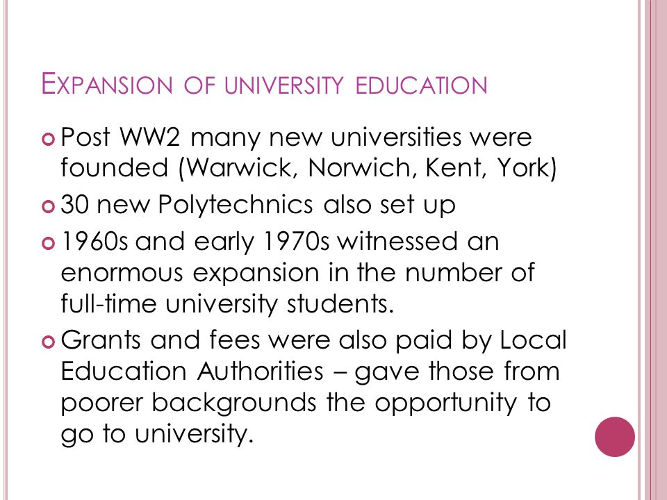 Expansion of university education