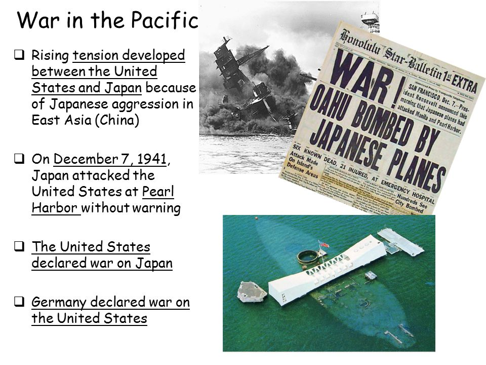 War in the Pacific Rising tension developed between the United States and Japan because of Japanese aggression in East Asia (China)