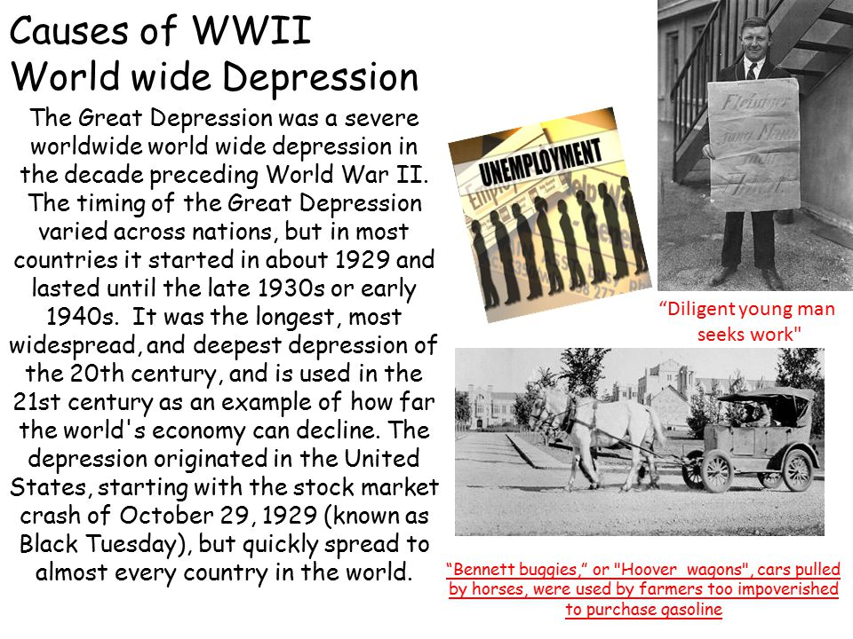 Causes of WWII World wide Depression